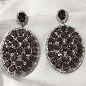 Amethyst and CZ Earrings NEW statement 925
